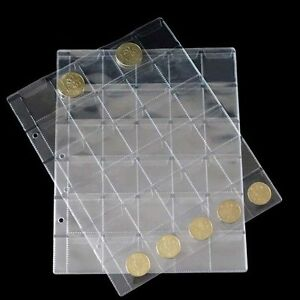 10Pages-30-Pockets-Classic-Coin-Holders-Sheets-for-Storage-Collection-Album-FE