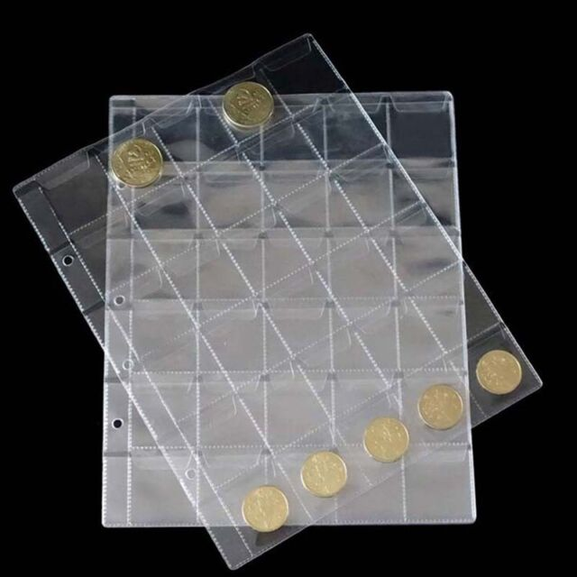 1X 30 Classic Coin Collection Storage Album Pages  Folder  Clear Pockets M&C