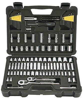"Stanley 123-Piece Socket Ratchet Tools Set Metric 1/4"" 3/8"" Drive SAE Craftsman"