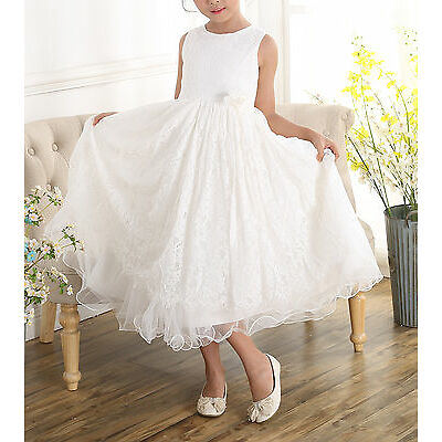 New Girls Ivory Lace Bridesmaid Flower Girl Dress 2 3 4 5 6 7 8 9 Years