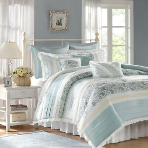 BEAUTIFUL-CHIC-COTTAGE-FRENCH-COUNTRY-BLUE-LEAF-IVORY-WHITE-LACE-COMFORTER-SET
