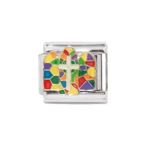 fits 9mm classic Italian charm bracelets Cross stained glass Italian charm