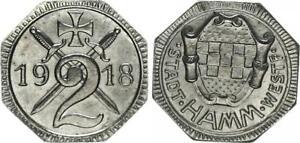 Emergency Money City Hamm-Westfalen 2 Pfennig 1918 Xf-Bu