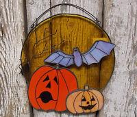 Large Full Moon Halloween Sun Catcher Stained Glass Pumpkin Bat Jack O Lantern