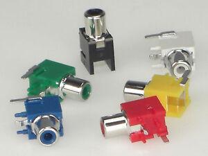 Cinch-Buchse-100-Stueck-gewinkelt-Farben-rot-gruen-blau-gelb-weiss-schwarz
