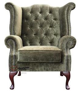 Chesterfield Queen Anne High Back Fireside Wing Chair Moss