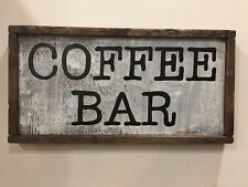 Primitive Wood Wake Up Smell Coffee Sign Farmhouse Mount Ship Artist