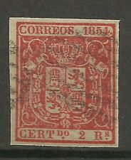 1879-SELLO CLASICO ISABEL II AÑO 1854 ESCUDO ESPAÑA Nº25.USADO,2 REALES CLASSIC