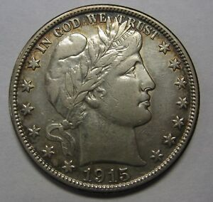 1915-D-Silver-Barber-Half-Dollar-Grading-AU-Cleaned-As-Pictured-g9666