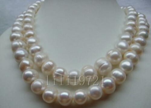 """Beautiful 100/% natural 12-13mm white Freshwater pearl necklace 34/"""""""