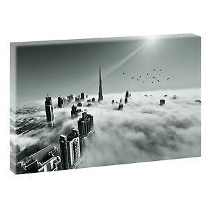 Dubai-Panorama-Bild-Keilrahmen-Leinwand-Poster-Wandbild-XXL-120-cm-80-cm-632