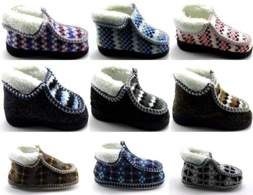 Kids Boys Girls Warm Winter Knitted Fleece Fur  Ankle Slip On Soft Shoe Sz 5-10
