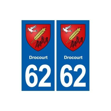 62 Drocourt blason autocollant plaque stickers ville -  Angles : droits