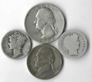 Rare-Silver-Quarter-Mercury-Barber-Dime-Jefferson-War-Nickel-Collection-Lot-Q12