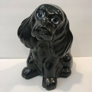 Vtg Holland Mold Ceramic Black Cocker Spaniel Dog Puppy Figurine Long Ears