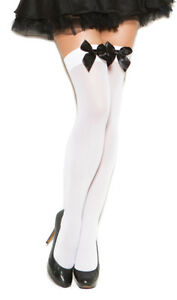 aaf274a2b2e Satin Bow Thigh High Stockings Opaque Nylons Hosiery Hi Black White ...