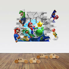 Cute 3D super mario Art kids room decor Wall sticker Wallpaper wall decals Mural