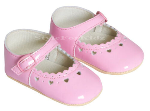BABY GIRLS SHOES PRAM SHOES CHRISTENING PARTY WEDDING PATENT SOFT SOLE SHOES