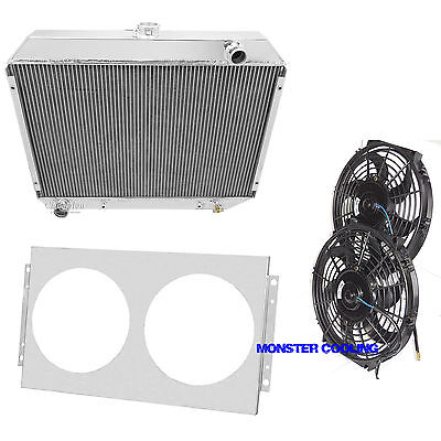 1968-1973 Plymouth Satellite Big Block Aluminum 3 Row Champion Radiator /& Fans