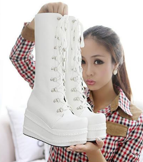 femmes Fashion Wedge Mid Calf Knee High Platform Goth Punk Military bottes chaussures
