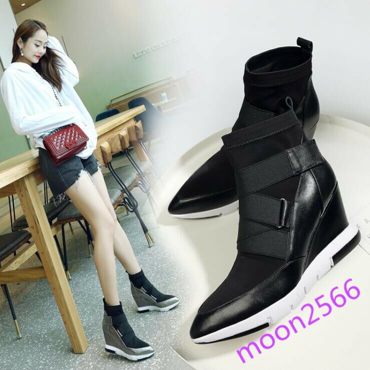 19 Womens Leather Pointy Toe Strappy High Top Sneakers Hidden Wedge Ankle Boots