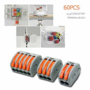 60PEZZZI-connettori-elettrici-filo-cavo-riutilizzabile-morsetto-terminale-2-3-5
