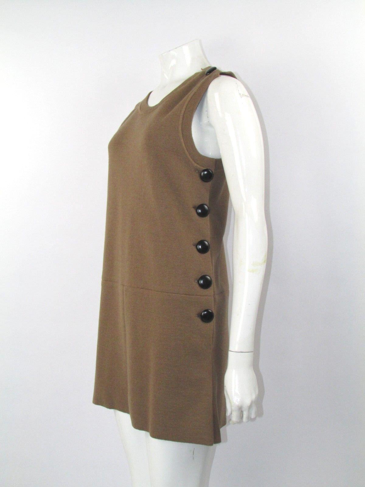 Chloe Brown Wool Knit Button Detail Retro Dress Size S