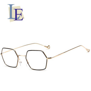 47614fb213 Image is loading LE-Hippie-Punk-Geometric-Prescription-Eyeglass-Frames- Hexagon-