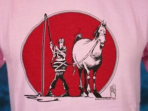 NOS-vintage-80s-HORSE-CARTOON-WILEY-MILLER-T-Shirt-SMALL-cowboy-joke-super-soft