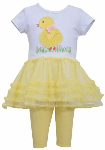 Bonnie Jean Girls Spring Easter Yellow Chick Mesh Tutu Outfit 2T 3T 4T New