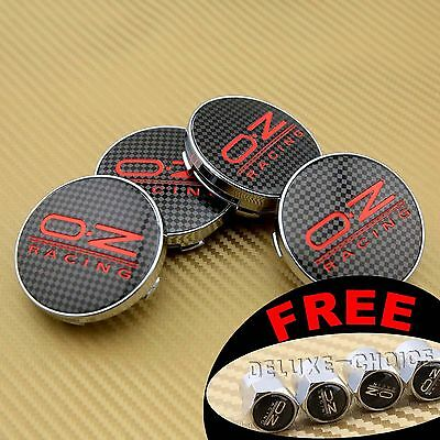 4 pcs CAR WHEEL RIM CENTER CAP HUB BADGE BLACK RED CARBON FIBER 60MM FACE FOR OZ