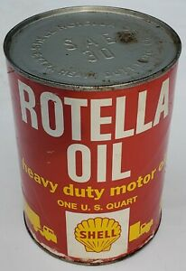 Old Vintage Rotella Heavy Duty Motor Oil Cardboard Can Shell Oil Company Can