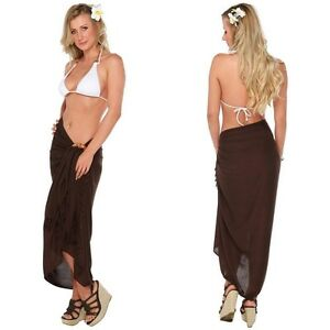 5f78c9f935 Image is loading 1-World-Sarongs-Womens-Beach-Cover-Up-Brown-