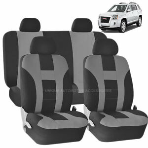 Fabulous Details About Gray Black Double Stitch Seat Covers 8Pc Set For Gmc Acadia Sierra Gmtry Best Dining Table And Chair Ideas Images Gmtryco