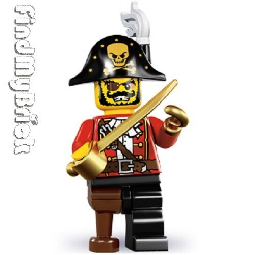 Brand New Not Sealed NEW Pirate Captain - Lego 8833 Minifigure Series 8