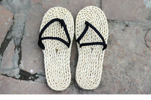 Men Womens Straw Slippers Sandals Chinese Traditional Handmade Shoes Flip Flops