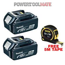 Genuine Makita BL1850 18V 5.0Ah Li-Ion Battery Twin Pack & STA130696 5m Tape