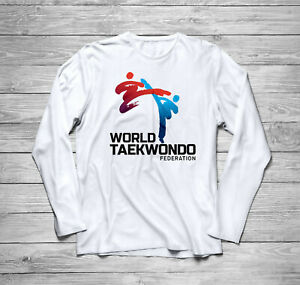 New WTF World Taekwondo Federation Logo Long Sleeve Black T-Shirt Size S to 3XL