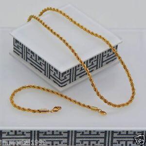 Parure-Bijoux-couleur-Or-jaune-Chaine-61cm-Bracelet-21-5-cm-maille-Torsade