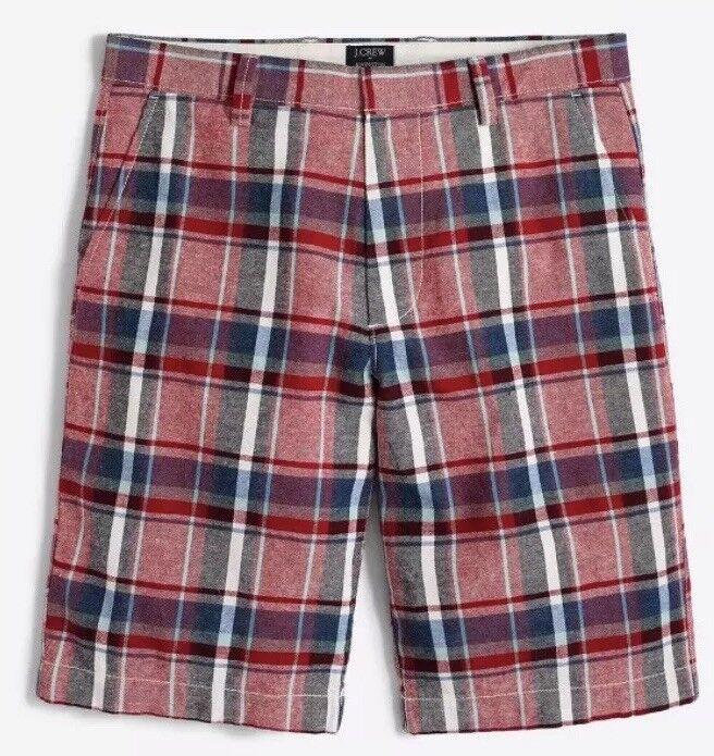 J.CREW Men's 11  mixed-plaid linen-cotton Rivington ShortNWT Sz 36W Retail 59.5