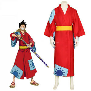 Details About One Piece Wano Country Monkey D Luffy Cosplay Costume Outfit Kimono Custom Made