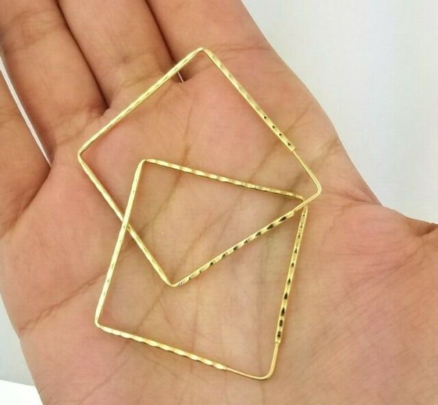 14k Yellow Gold Large Diamond Cut Hoop Earrings