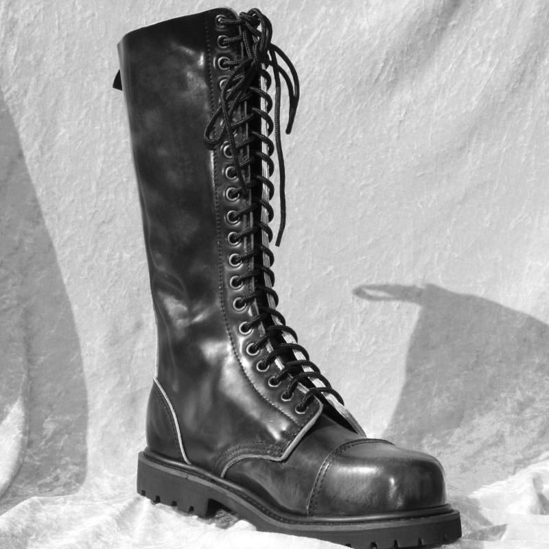 HLS Stiefel Stahlkappe - 20-loch Leder STIEFEL mit Stahlkappe Stiefel (matt) Gothic Springerstiefel 5577ce