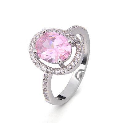 Elegant lady 925 Silver cut pink Topaz Wedding Ring size 6/7/8/9