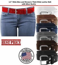 BLACK BROWN STITCH LEATHER BELT ROLLER SILVER BUCKLE SNAP ON UNISEX MENS WOMENS