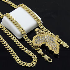 """Mens Gold Plated Hip-Hop Iced Cz Africa Pendant 24"""" Cuban Chain Necklace D526"""