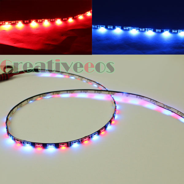 2x 30CM 30LEDs Side-emitting SMD LED Strip Brake Tail DRL Driving Light Blue/Red