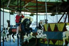 1966 young boy on carnival ride carousel vintage 35mm slide Aq3