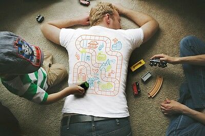 Train Track T-Shirt for Dad. Play Mat Shirt. Father's Gift for Dad and Son.