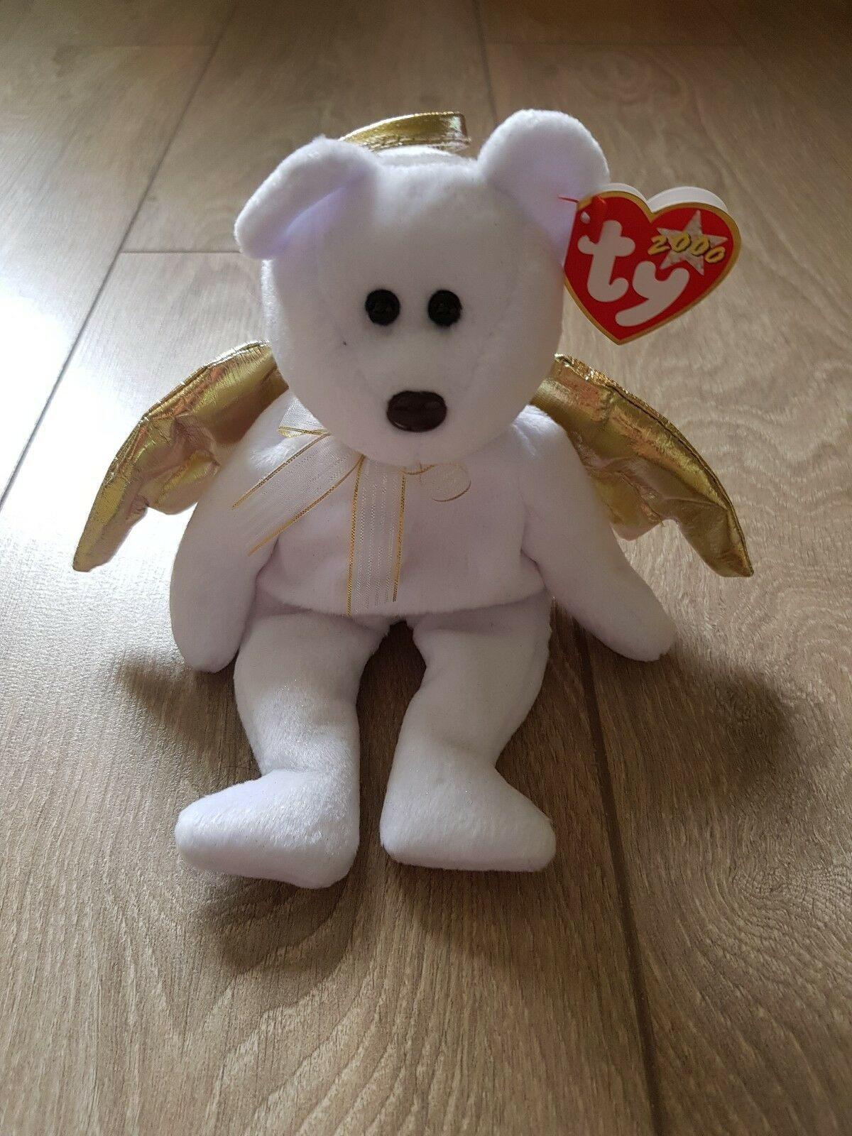 TY beanie baby 'HALO 2' the bear, has  RARE  'stunning'  golden wings